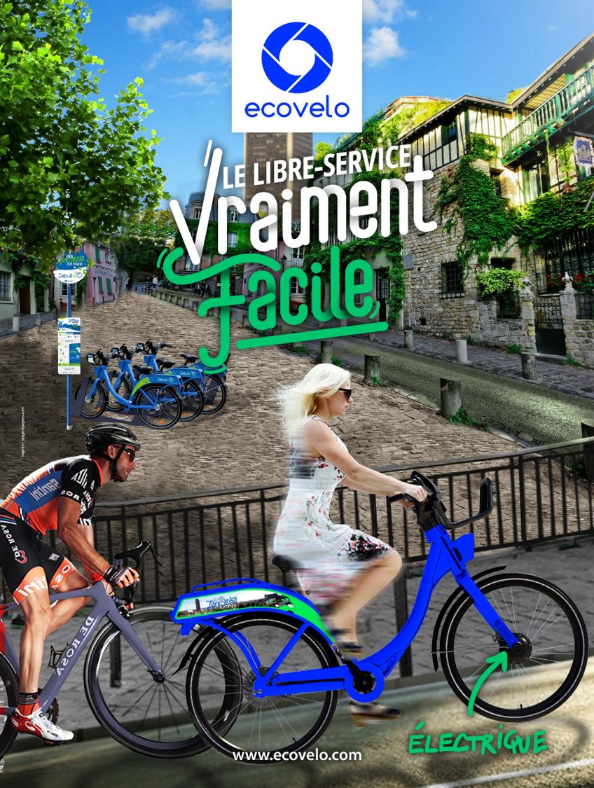 affiche communication sur vélo
