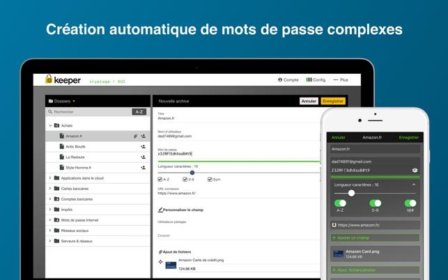 interface logiciel keeper ordinateur